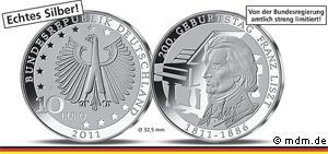 10 Euro Gedenkmünze 200. Geburtstag Franz Liszt