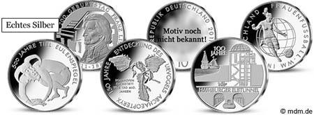 10 Euro Münzen 2011 Übersicht