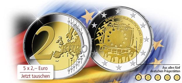 5 mal 2 Euro Europaflagge