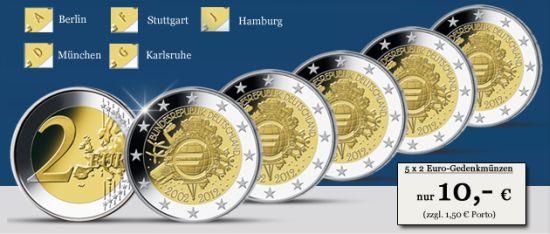 Deutschland Set 2 Euro Bargeld Einführung 2012 Münzangebote