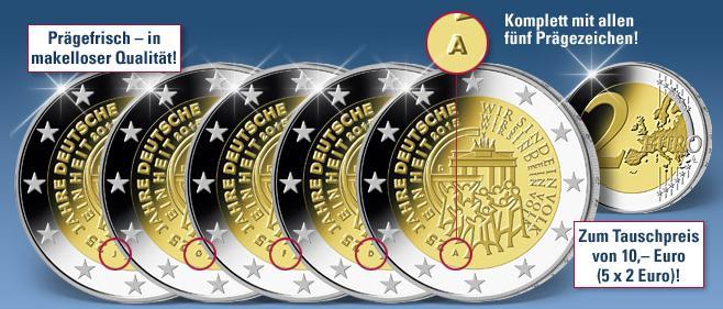 Komplettset 5 X 2 Euro Münze Deutsche Einheit 2015 Münzangebote
