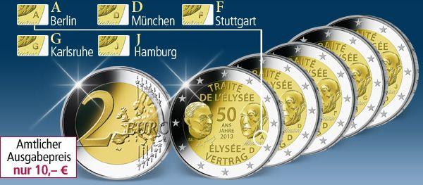 2 Euro Komplett Set élysée Vertrag 2013 Für 10 Münzangebote