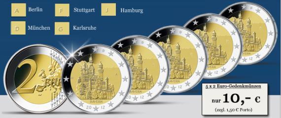 2 Euro Münze Neuschwanstein Komplettset Münzangebote
