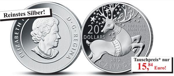 20 Dollar Silbermünze Rentier
