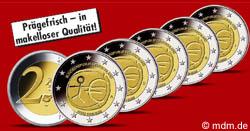2 Euro Sondermünze Gemeinschaftsausgabe Wirtschafts- und Währungsunion 2009