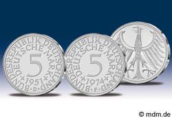 alte 5 DM Münze Kursmünze aus Silber 1951-1974