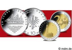 10 Euro Gorch Fock und 2 Euro Hamburger Michel