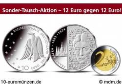 10 Euro Franz Kafka und 2 Euro Hamburger Michel
