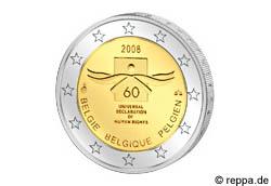 2 Euro Belgien 60 Jahre Menschenrechte