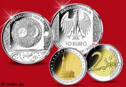 10 Euro Himmelsscheibe von Nebra und 2 Euro Hamburger Michel