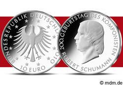 10 Euro Gedenkmünze Geburtstag Robert Schumann
