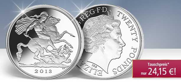 20 Pfund Silbermünze St. Georg