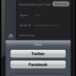 Integration von Twitter und Facebook