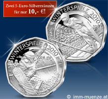 5 Euro Silbermünzen österreich Olympische Winterspiele 2010