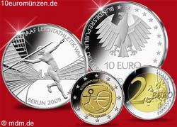 10 Euro Leichtathletik WM2009 und 2 Euro Währungssunion
